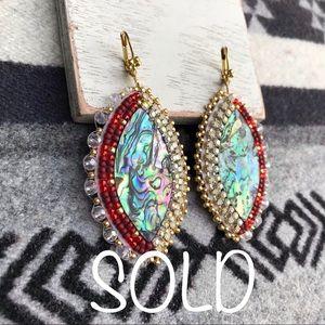Native American Beaded Abalone Earrings
